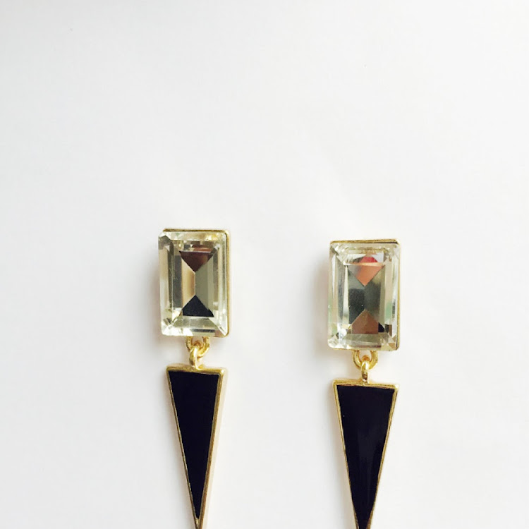 E006 - B. Modish Dark Geo Earrings