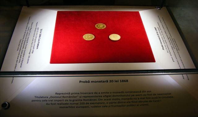 FIRST ROMANIAN GOLDEN COIN AT MUSEUM OF CENTRAL BANK IN BUCHAREST