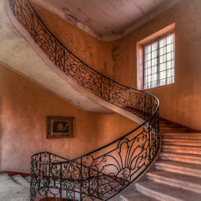 round and round by Marlou Nijpels - Buildings & Architecture Decaying & Abandoned ( interior, round, architecture, pov, pornstairs, exploring, colours, starcase, urban, urbex, stairs, castle, light, abandoned, decay )