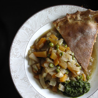 Rustic Indian Samosa Pie with Mint + Cilantro Chutney, serves 4