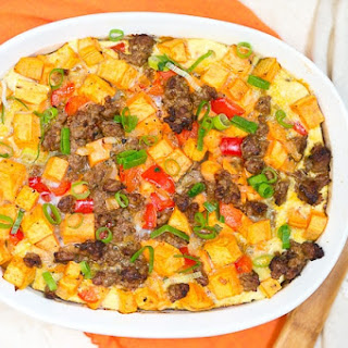 Sweet Potato, Sausage and Egg Breakfast Casserole.