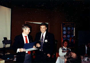 Photo: Current Research Chairman Neil Armstrong (right) presents a Research Achievement certificate from Atlanta HQ, to past Research Chair, Chris Frauley