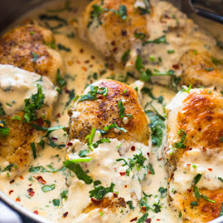 Easy One Skillet Creamy Cilantro Lime Chicken.