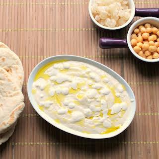 Creamy Hummus With Lemon Garlic Sauce.
