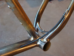 Photo: A mockup of the rear brake routing.