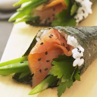 Temaki Sushi with Salmon.
