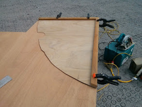 """Photo: tracing out template for bulkhead on marine grade 1/2"""" plywood."""