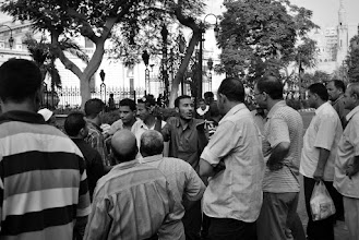Photo: The striking workers discuss a way forward.