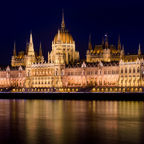 Hungarian Parliament Building by Pavel Aberle - Buildings & Architecture Public & Historical ( parliament, hungary, budapest, europe, night photography, long exposure, night, architecture, travel, nikon, nikon d7000, historic, országház )