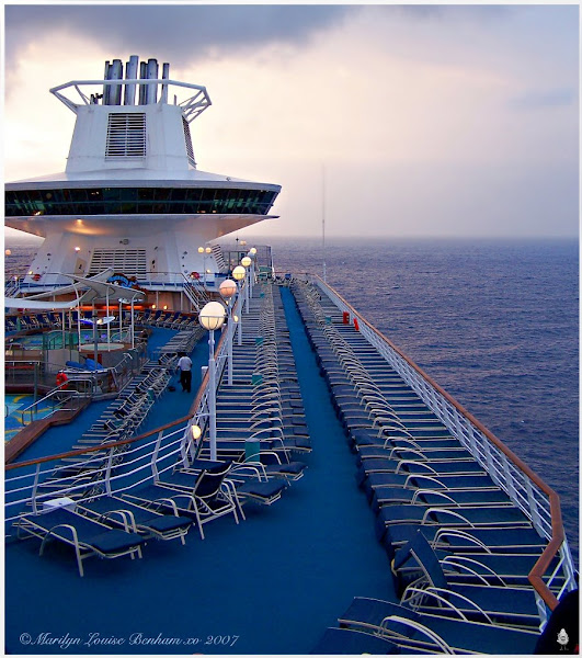 Photo: Sun-Up On The Sovereign Of The Seas...Out in the Atlantic Ocean off the coast of the Bahamas Only the workers are up right now.. soon all the blue lounge chairs will be filled with peeps.. For #repetitivetuesday +Repetitive Tuesday hosted by, +Frank Schillinger  #transporttuesday +TransportTuesday hosted by,(the Birthday boy) +Gene Bowker  #breakfastclub +Breakfast Club hosted by, +Gemma Costa    #seasidetuesday #streamcatcher   (((hugs)))