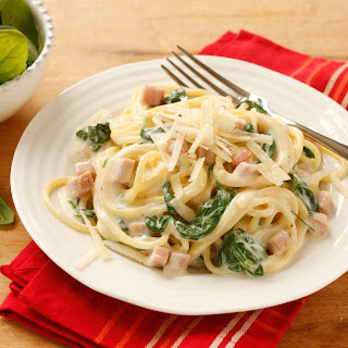 Spaghetti Carbonara mit Spinat