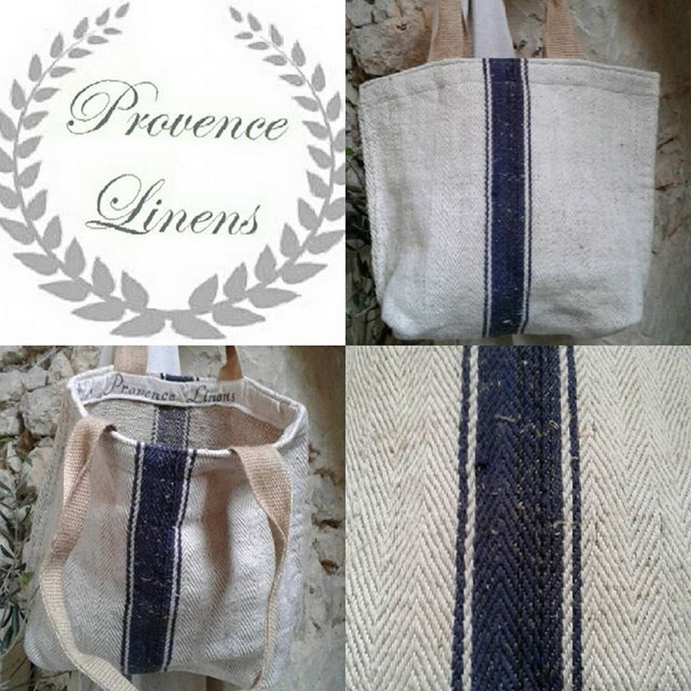 Provence Linens - Signature Blue Ticking Stripe Tote Bag 9bb281858e6a4
