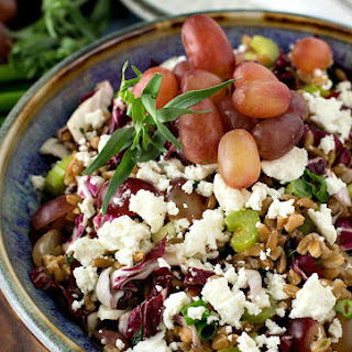 Farro Salad with Grapes, Goat Cheese and Tarragon Vinaigrette