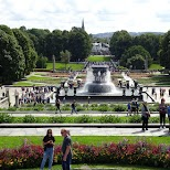 Frogner Park on a sunny day showcasing 200 sculptures by Gustav Vigeland in Oslo, Oslo, Norway