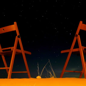 Start Gazing for two by Marzook Mohd - Landscapes Starscapes ( desert, pwcstars, dubai, star, , Chair, Chairs, Sitting )
