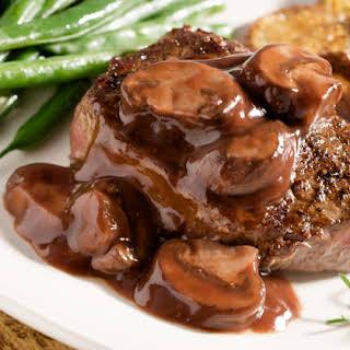 Garlic Marinated Steaks with Rich Mushroom Sauce.
