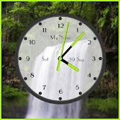 Waterfall live wallpaper with analog clock