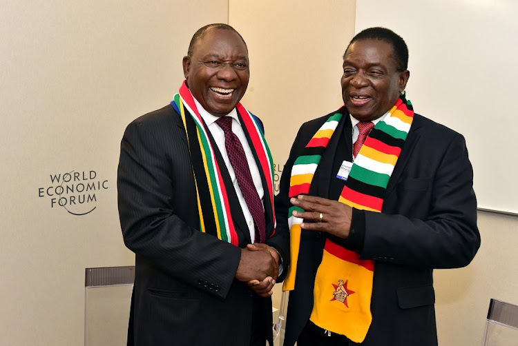 President Cyril Ramaphosa and Zimbabwean President Emmerson Mnangagwa pictured in Davos earlier in 2019. Picture: ELMOND JIYANE