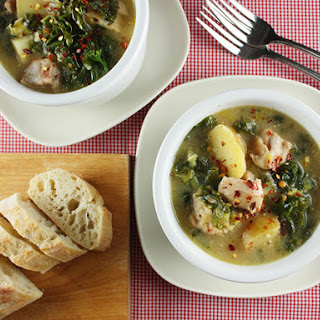 Dijon Chicken Stew with Potatoes and Kale.