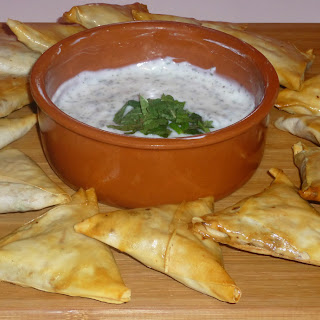 Baked Spicy Cauliflower and Pea Samosa's with a Yoghurt Mint Dip.