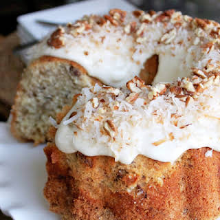 Coconut Pecan Pound Cake with Coconut Cream Cheese.