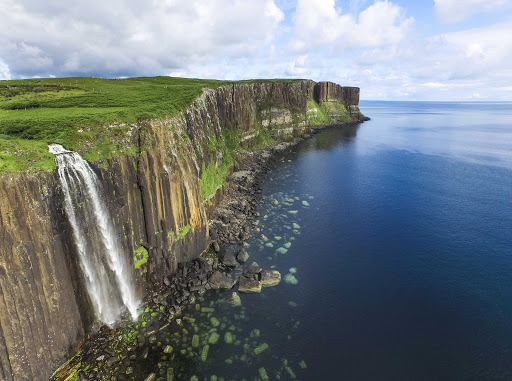 Mealt Falls and Kilt Rock on the Isle of Skye in Scotland.