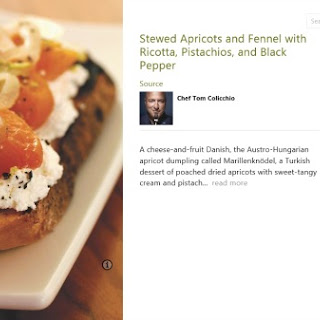 Stewed Apricots and Fennel with Ricotta, Pistachios and Black Pepper