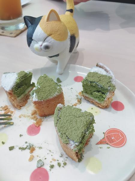 貓咪寵物餐廳  甜點很不賴 很抹的抹茶塔