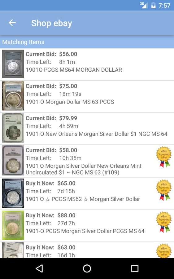 PCGS Price Guide- screenshot