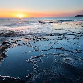 Monument Beach by Geoffrey Wols - Landscapes Waterscapes ( bendalong, coast, seascape, sunrise, rocks, waterscape, beach, sunset, morning,  )