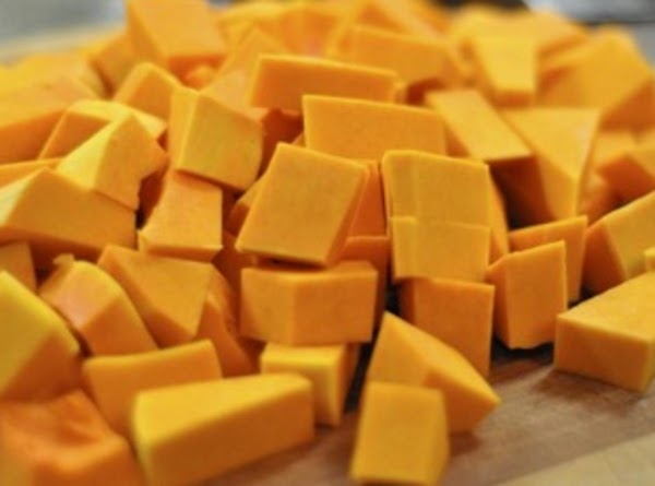 Whack the butternut squash into small pieces using a SHARP, sturdy knife. It is...