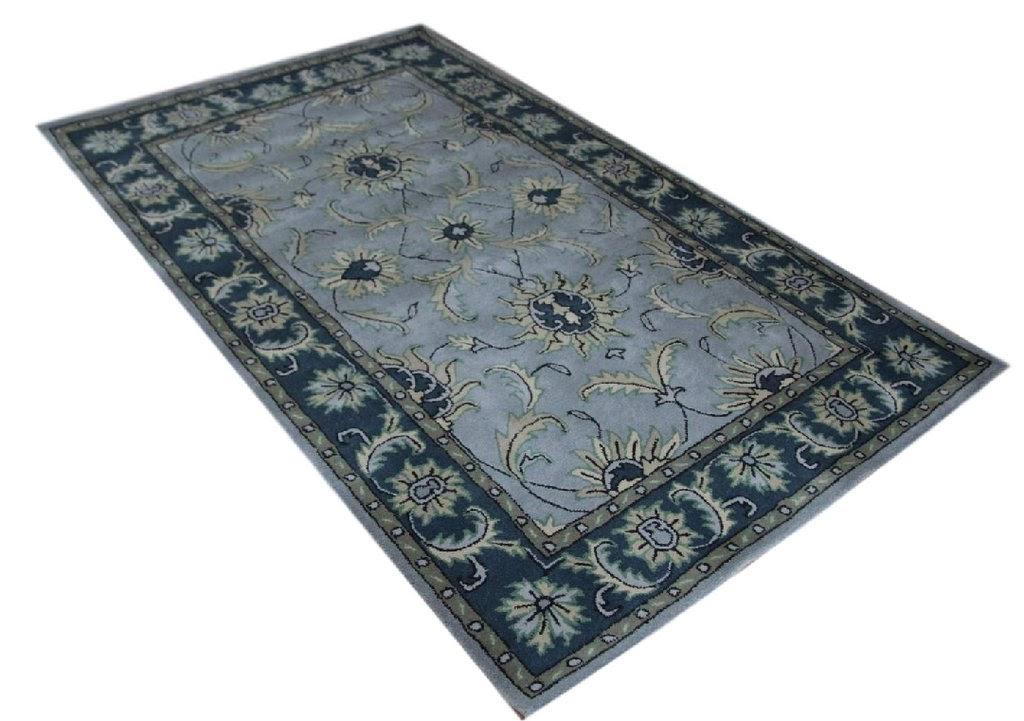 niebieski dywan persian ziegler wełniany ręcznie tkany 155x245 tradycyjny kwiatowy