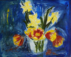 """Photo: Tulips and Daffodils 3, 16"""" x 20"""", oils on canvas.  Wish I'd taken a photo of the underlying sketch because I liked it. This painting works, I know it does. But it is not 'neat' or 'tidy' or very well contained. It is on the edge of oblivion. A floral swan song. The flowers are dying, the flowers are dying...  ...magnificently.  The drive to abstraction is causing emotional distress (you should be glad you didn't see), but every attempt I make to bring the flowers to my usual dance between drawing and painting results in a decrease of energy on the canvas, and so I must respect the muse, and let the musa sing..."""