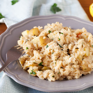 Lemon Chicken Risotto with Potatoes, Feta & Green Olives Recipe