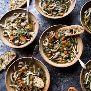 Winter Vegetable Chicken Noodle Soup with Asiago Crostini..