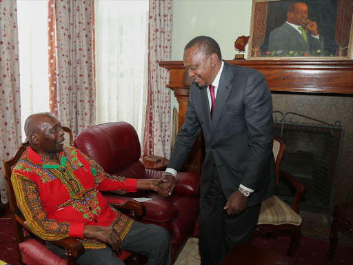 President Uhuru with former President Daniel Arap Moi at his Kabarnet Gardens residence in Nairobi during a past meeting.