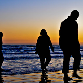 The walk together in love by Ann Cockerham - People Family ( color, sunset, silhouette, family, beach,  )