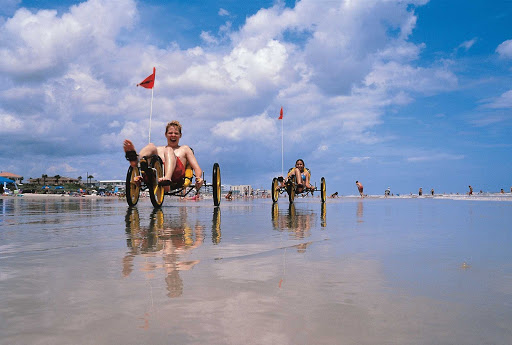 Daytona-Beach-cycling.jpg - Cycling on Daytona Beach, Florida, with some reclining tricycles.