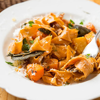 Hot Pepper Fettuccine With Roasted Butternut Squash