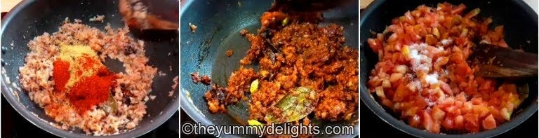 addition of tomatoes & salt