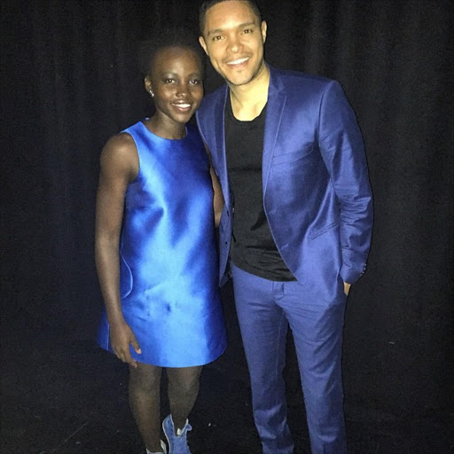 Lupita Nyong'o with Trevor Noah in Johannesburg last year.
