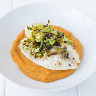 Baked Tilapia With Sweet Potato And Apple Puree.