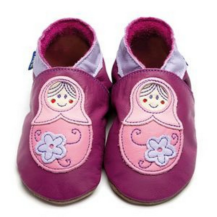Inch Blue Soft Sole Leather Shoes - Baboushka Purple (6-12 months)