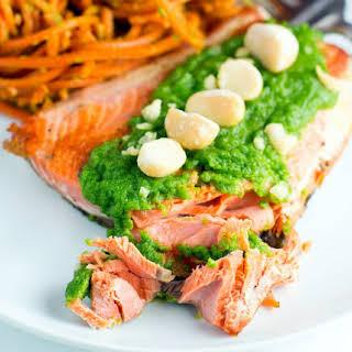 Pan Fried Salmon With Macadamia Arugula Pesto.