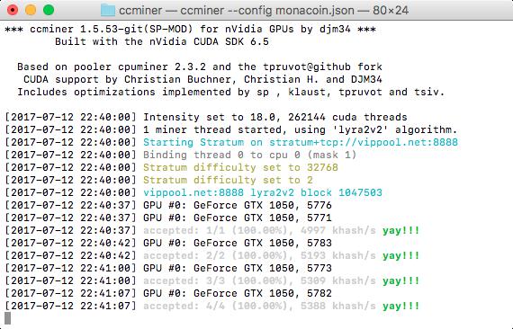 macOSでccminerをビルドしてGPUマイニングしてみる - KILINBOX