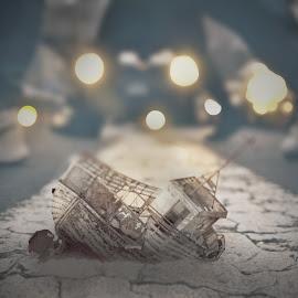 Boat wreck in the city by Michaela Firešová - Digital Art Things ( wreck, city, street, people, boat )