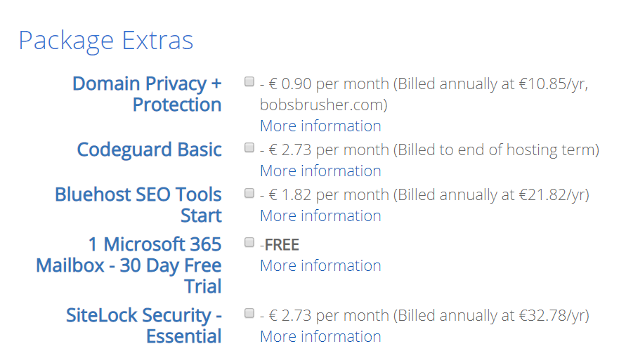 Bluehost extra features
