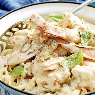 Spicy Shrimp and Zucchini Fettuccine.