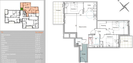 Vente appartement 4 pièces 84,13 m2