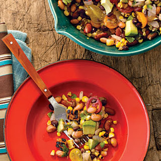 Pinto, Black, and Red Bean Salad with Grilled Corn and Avocado